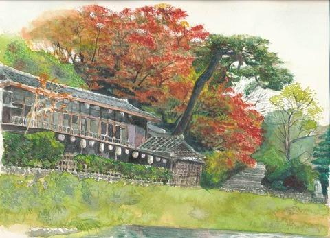 作品「嵐山の船着場界隈」の着彩の途中経過。その2