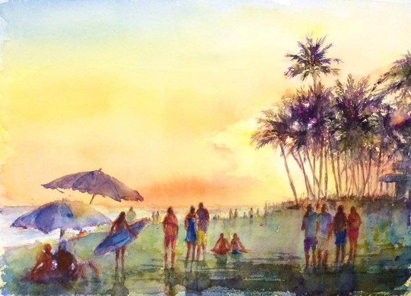 くろかわ透明水彩画教室OYさん作品「ハワイの風景(仮題)」&七夕ですね☆