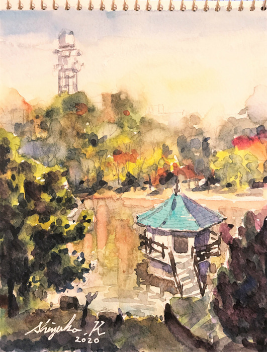 スケッチ散歩(山田池公園:枚方市)& ラジオ水彩的生活