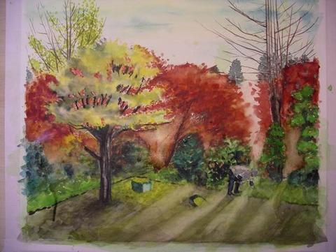 作品「三室戸寺の秋」製作途中 パート2