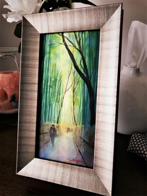 透明水彩画「冬の旅人」(京都 嵐山)ホルベインの「大きなポストカード」使いました♪