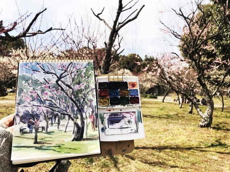 山田池公園(枚方市)梅スケッチ🎨