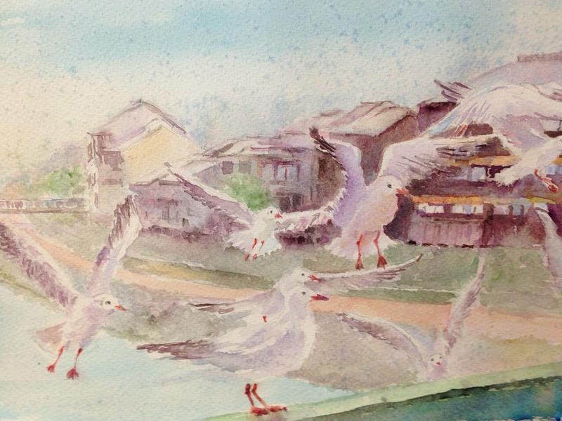 10OYさん鴨川の風景(風邪ひき)