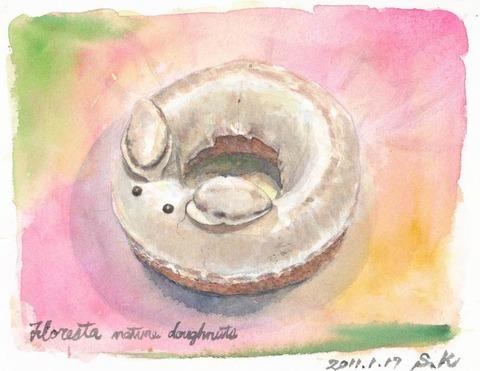 水彩画作品「フロレスタの兎ちゃんドーナツ」を描きました♪