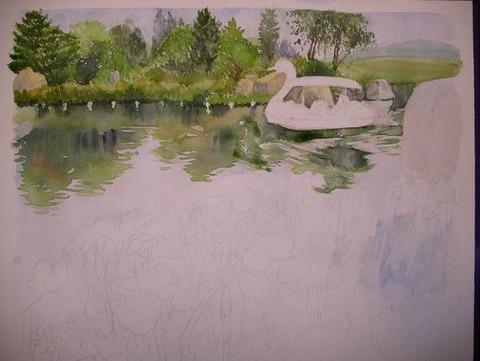透明水彩画「国立明石海峡公園」 (3)