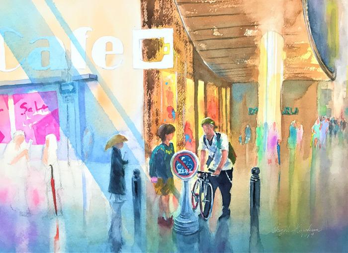 透明水彩画「雨上がり」(大阪・心斎橋商店街大丸前)意外と消えたスポンジ筆