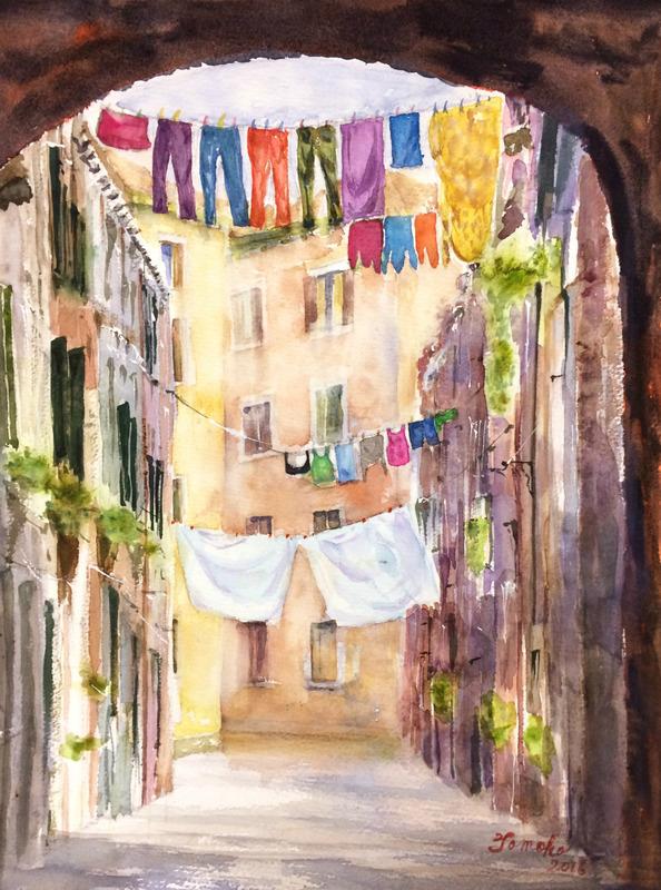 くろかわ透明水彩画教室 Uさん作品「路地裏のビエンナーレ」他グループ展報告