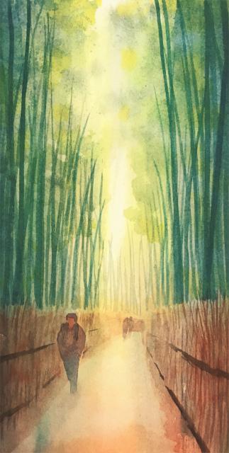 透明水彩画「冬の旅人」(京都嵐山)大きなポストカード 途中 (4)