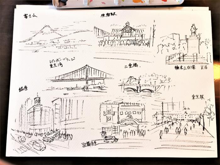 2020.01.11東京ペン水彩で街角クロッキー (3)