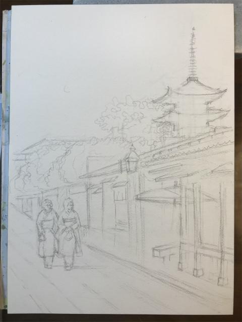 透明水彩画「夏の朝(寧々の道)」製作途中 (1)