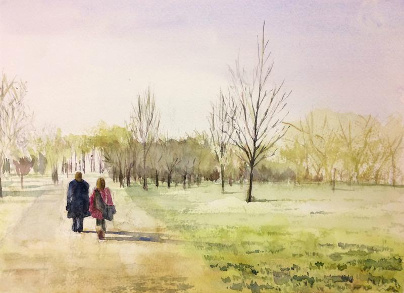 05Kさん透明水彩画「イギリス・ハイドパークにて(仮題)」