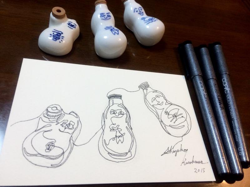 29透明水彩一本線スケッチ「崎陽軒ひょうちゃん還暦」ペンのみ