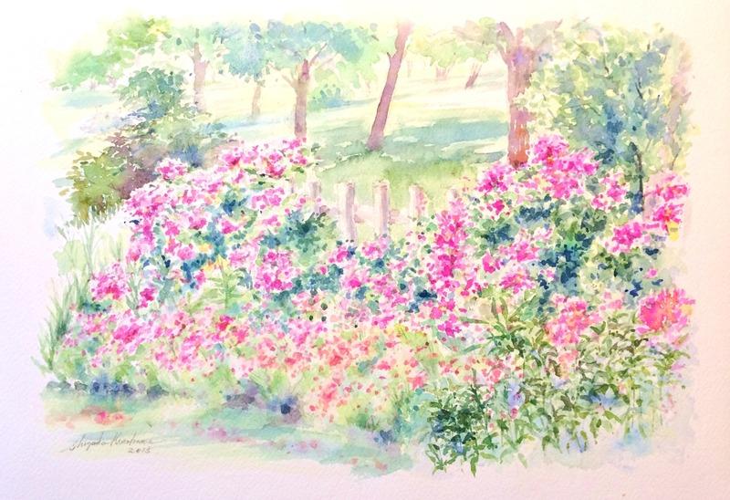 07透明水彩画「淡路島の風景(淡路島公園)」完成