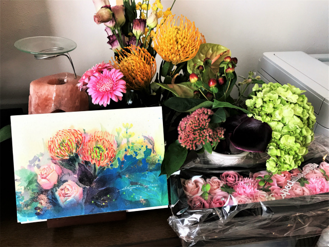 透明水彩画「ピンクッションアレンジメント」を描きました☆