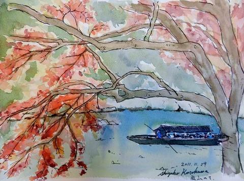 透明水彩スケッチ「嵐山にて(保津川下り船着き場)」