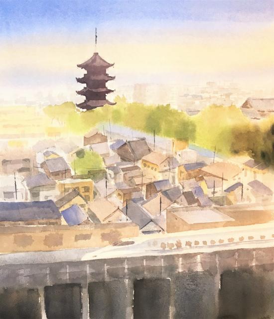 透明水彩画「家路」アヴァロン10号 (2)途中