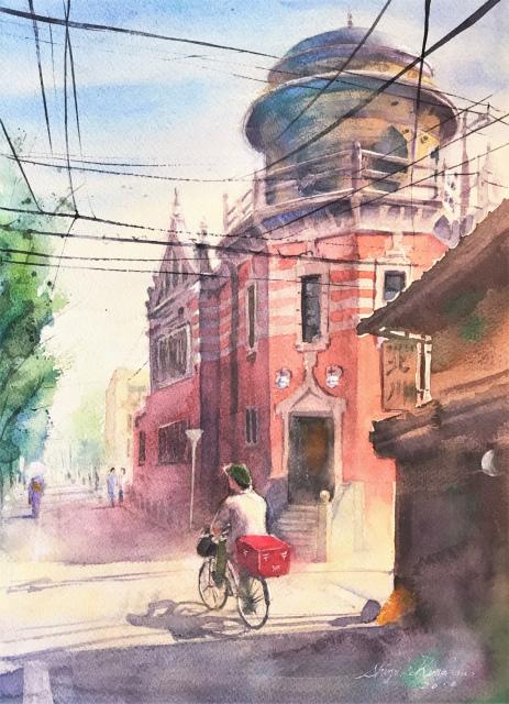 透明水彩画「午後の配達」(京都  伝道院)を描きました