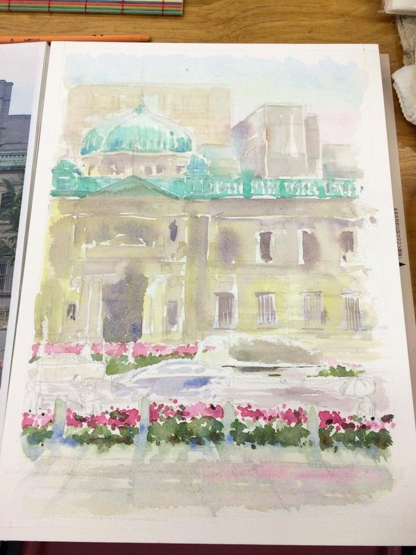 05透明水彩画「大阪の風景(淀屋橋