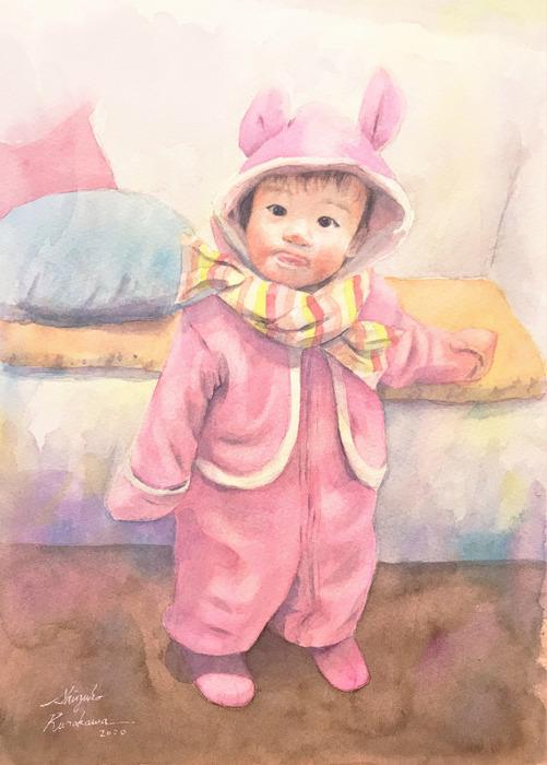 2020.03.08透明水彩画「うちの子がウサギだった頃」