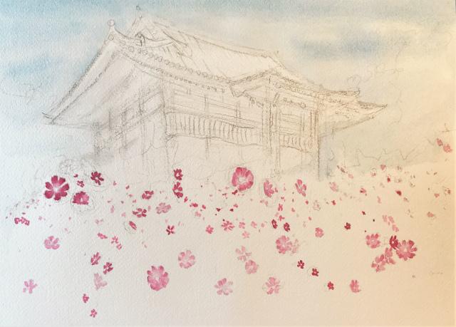 透明水彩画「コスモス寺(奈良)」製作途中 (1)