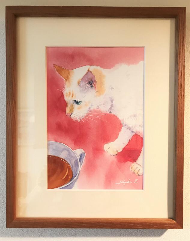 透明水彩画「Passing Cat」サムホールサイズ