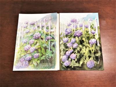 苦手な…細かくて沢山「紫陽花」その2マスキング技法で描く