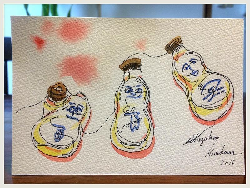 透明水彩一本線スケッチ「還暦のひょうちゃん」&村上豊さん個展情報