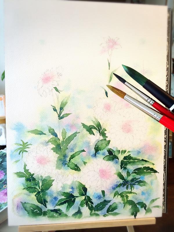 透明水彩画「野花」と共に お久しぶりです。