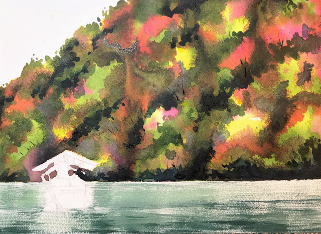 透明水彩画「保津川下り(京都嵐山)」製作途中 (2)