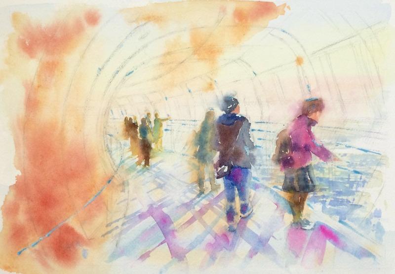 30透明水彩画「東京の風景(東京スカイツリー)」3