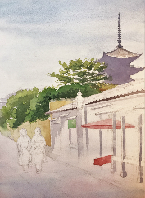 透明水彩画「夏の朝(寧々の道)」製作途中 (3)