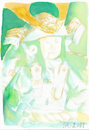 透明水彩画「五月人形」着彩途中