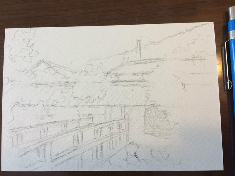 04 水彩スケッチ「富久錦酒造 門前」 下描鉛筆