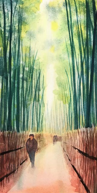 透明水彩画「冬の旅人」(京都嵐山)大きなポストカード 途中 (3)