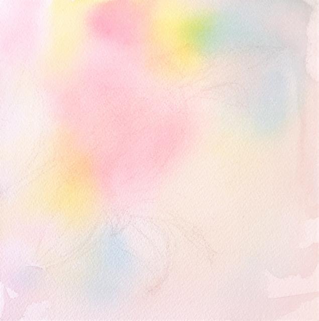 2020.01.26透明水彩画「昨日のこと(八重の椿)」途中 (1)