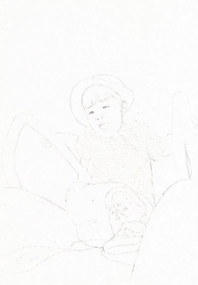 透明水彩画『うちの子』下描き