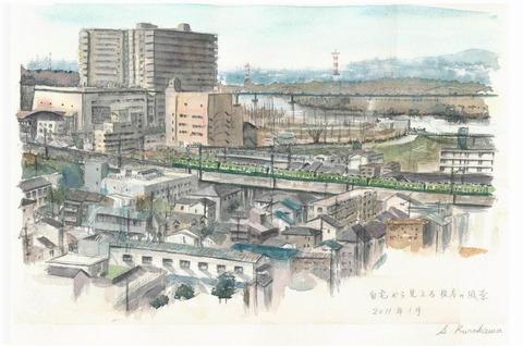 透明水彩画作品「自宅から見た枚方の風景~淀川方面~」