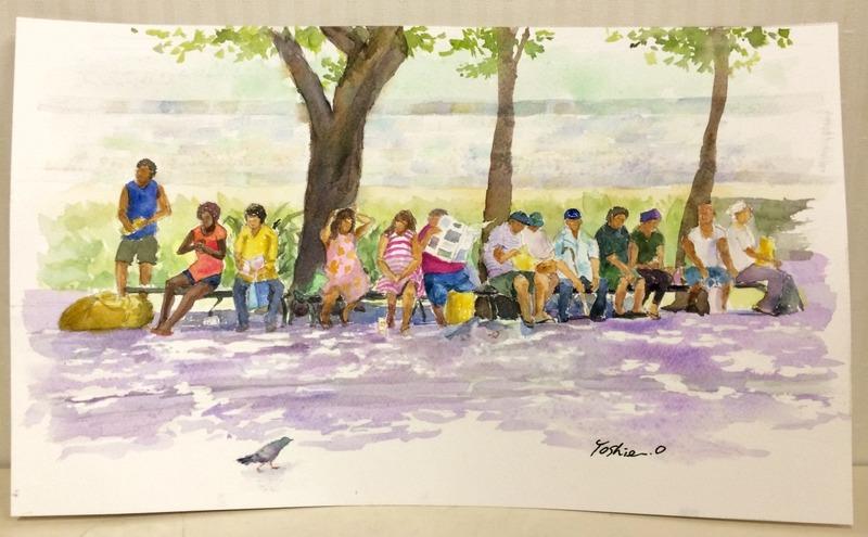 27OYさん透明水彩画作品『ハワイの街角』