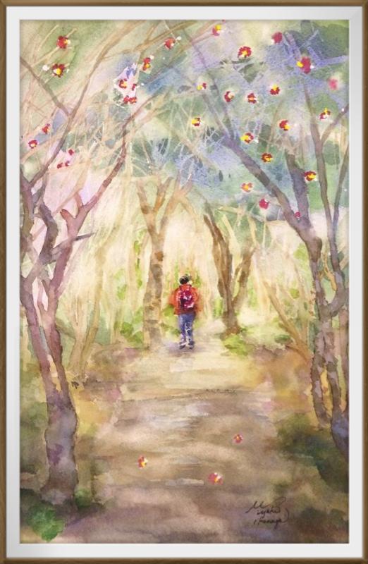 23Iさん透明水彩画「椿の森にて(高知)」仮題 額装