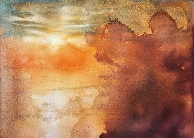 2020.01.10透明水彩画「琵琶湖の朝日(滋賀県長浜市)途中 (3)