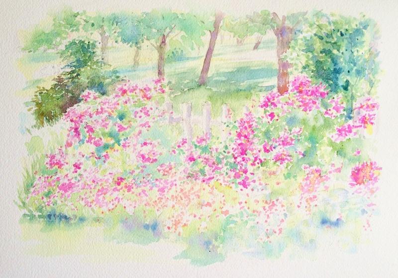 07透明水彩画「淡路島の風景(淡路島公園)」4