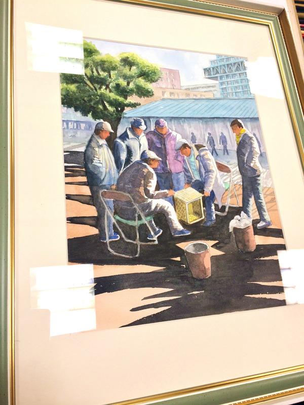 15Mさん透明水彩画作品「阿倍野の街角にて」仮題