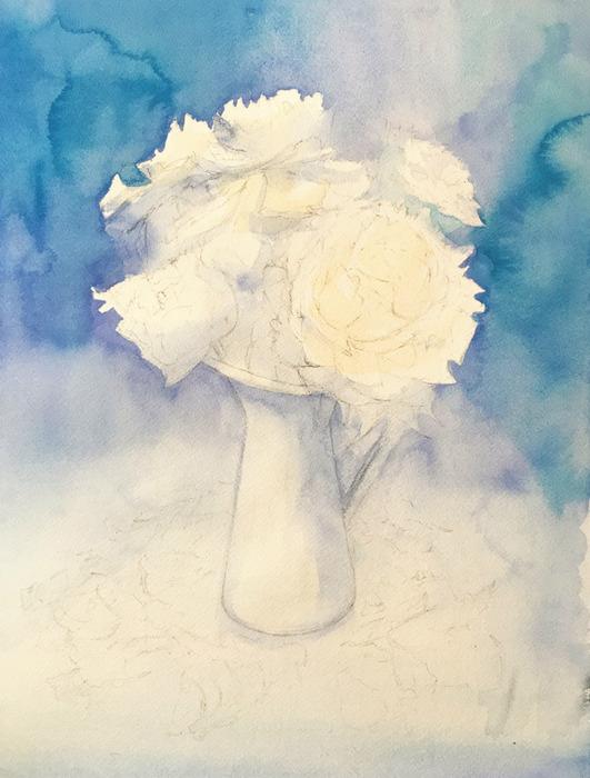 透明水彩画「青の世界」製作途中 (4)