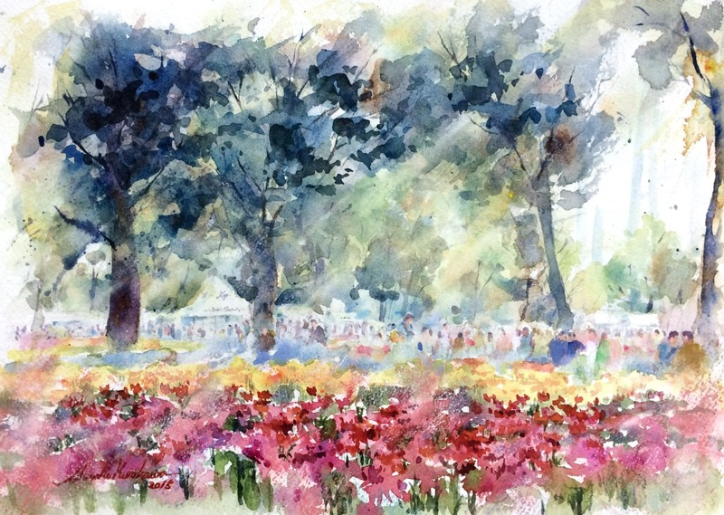 シークレット作品発表第一弾「tulip festival」&くろかわ透明水彩画教室満席になりました☆