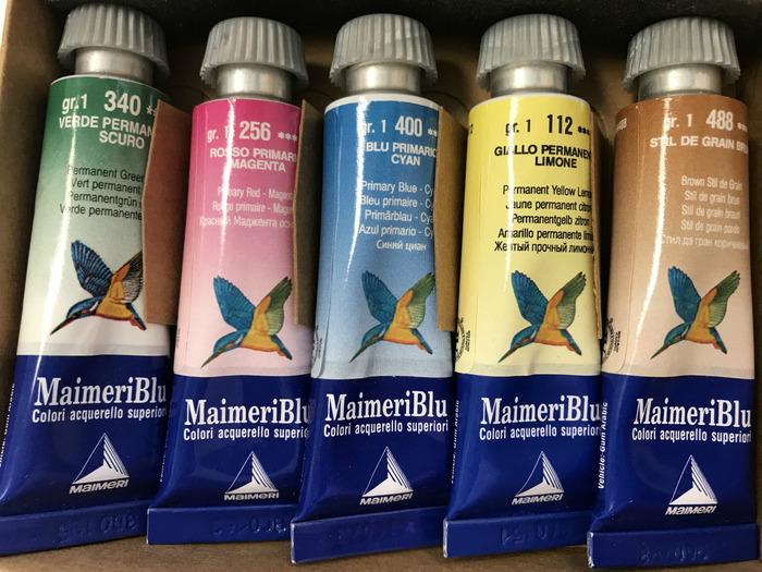 「マイメリ」透明水彩絵の具はどの色でもブルーなの?