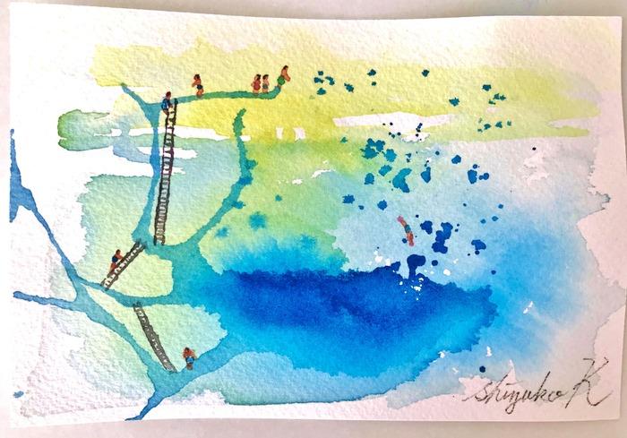 葉書de一日一枚 滲みが難しすぎて思いついた「透明水彩ミニチュア画」