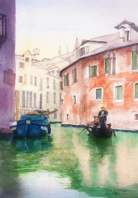透明水彩画「ベニスの風景」&アートエッセイ「面倒くさくなくて楽しくて失敗しない方法を考えてたら・・・」