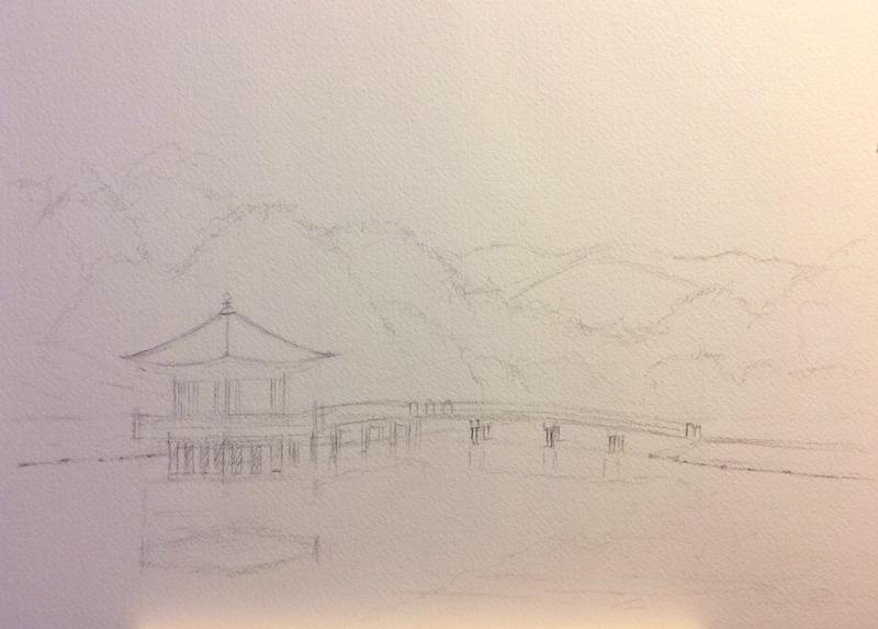 2016-3透明水彩画「春模様 奈良公園」製作途中1small