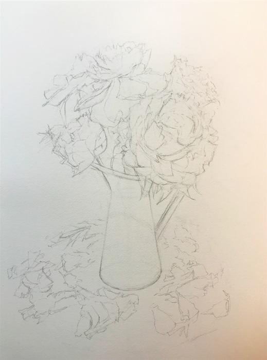 透明水彩画「青の世界」製作途中 (2)
