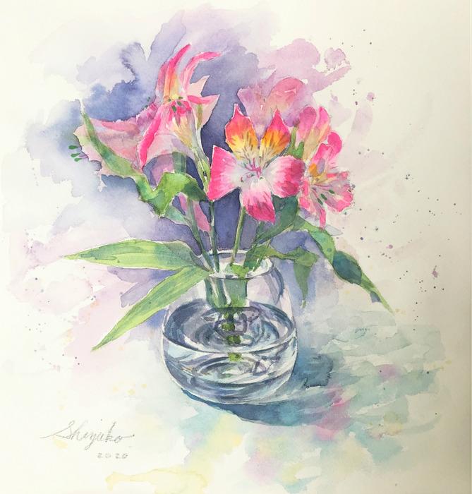 花の水彩デッサン ~苦手な静物画~